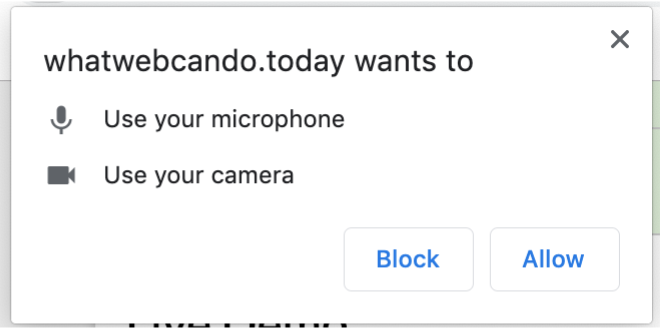 Chrome's permissions dialog for video and audio stream